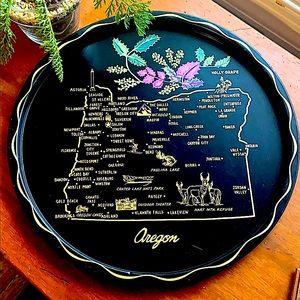 Vintage Tin Collectible Oregon State Plate